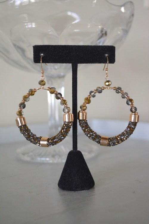 Yellow Gold Hoop Earrings, Gold Earrings, Gold Beaded Earrings