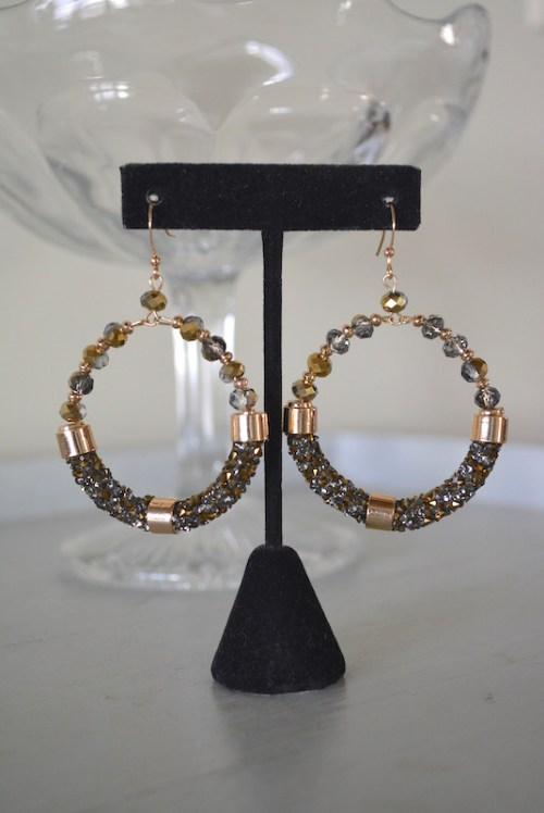 Yellow Gold Hoop Earrings, Gold Earrings, Gold Beaded Earrings