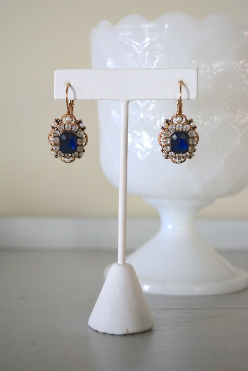 Sapphire Victorian Earrings, Sapphire Earrings, Victorian Earrings