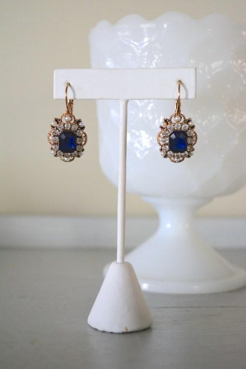 Sapphire Victorian Earrings, Sapphire Earrings, Victorian Earrings