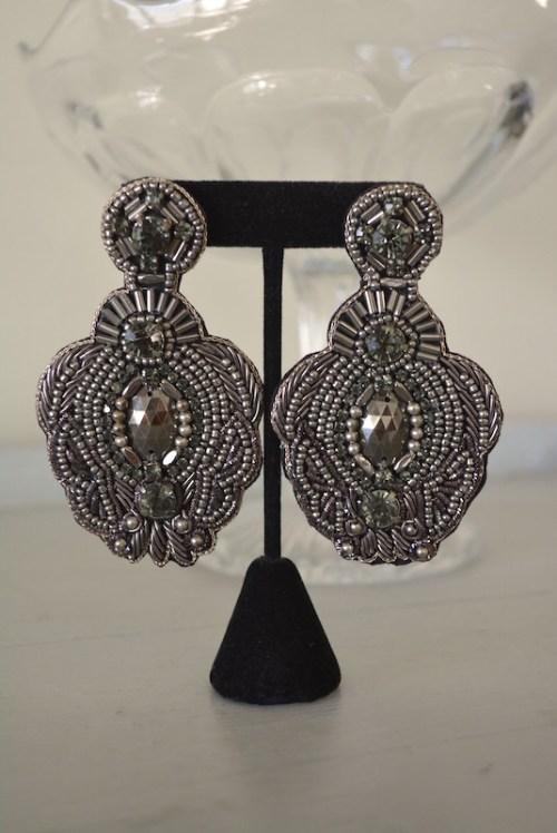 Pewter Beaded Earrings, Beaded Earrings, Grey Beaded Earrings, Silver Beaded Earrings, Silver Beaded Earrings, Charcoal Beaded Earrings, Statement Earrings