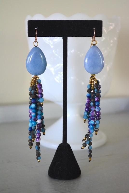 Blue Stones Earrings, Blue Earrings, Blue Beaded Earrings, Blue and Purple Earrings, Beaded Fringe Earrings
