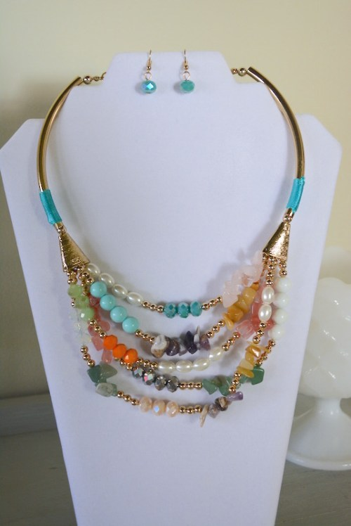 Bright Multi Strands Necklace Set, Stones and Beads Necklace Set, Necklace and Earrings, Bright Jewelry, Natural Jewelry