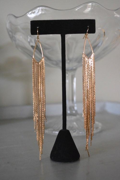 Yellow Gold Fringe Earrings, Yellow Gold Earrings, Studio 54 Jewelry