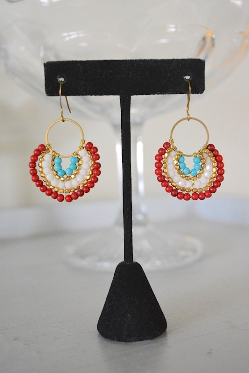 Red Beaded Dial Earrings, Beaded Earrings, Beaded Jewelry, Red and Turquoise Jewelry
