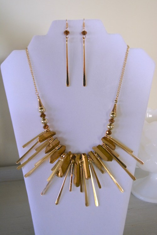 Gold Nugget Necklace Set, Gold Necklace Set, Gold Jewelry, Necklace and Earrings, Mad Max Beyond Thunderdome