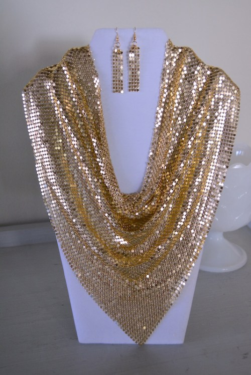 Gold Mesh Necklace Set, Gold Jewelry, Gold Mesh Jewelry, Mad Max Beyond Thunderdome, Gold Necklace and Earrings