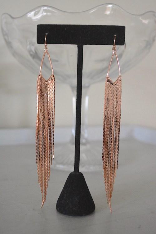 Rose Gold Fringe Earrings, Rose Gold Earrings, Rose Gold Earrings, Rose Gold Jewelry, Fringe Earrings