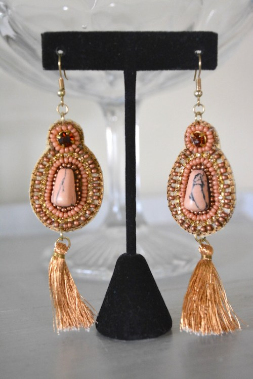 Salmon Earrings, Salmon Beaded Earrings, Beaded Earrings, Blush Earrings, Pink Earrings, Nude Earrings