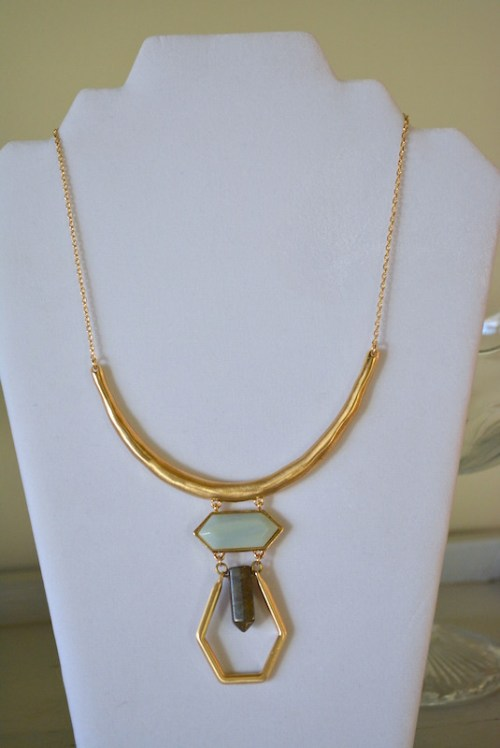 Stoned Gold Necklace, Gold Necklace, Stones Necklace, Bohemian Jewelry, Boho Style