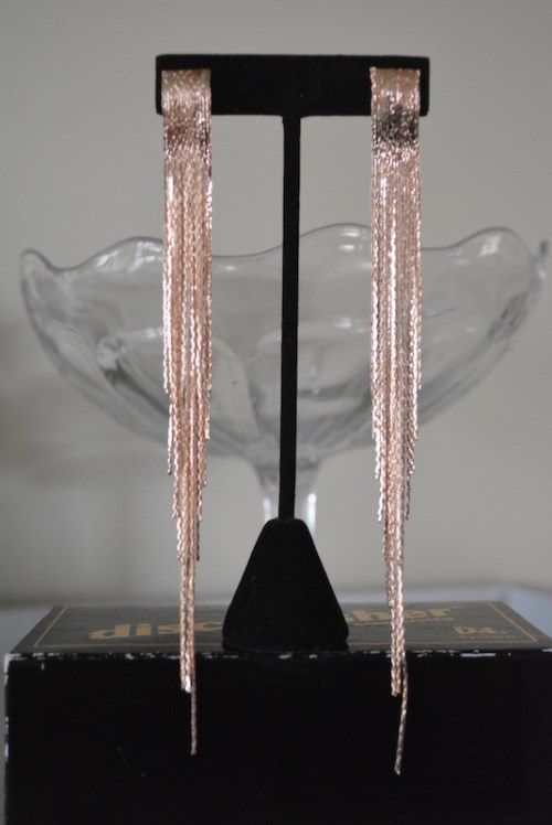 Gold Mesh Fringe Earrings, Gold Earrings, Yellow Gold Earrings, Yellow Gold Earrings, Fringe Earrings, Studio 54 Jewelry, Studio 54 Jewelry, 1970s Inspired Jewelry, Retro Glam Jewelry