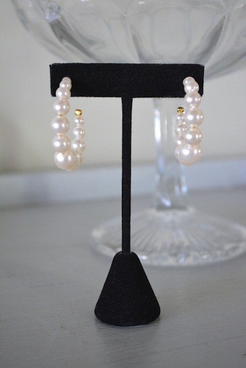 Pearl Hoop Earrings, Pearl Earrings, Pearl Hoops, Bridal Jewelry, Bridal Earrings