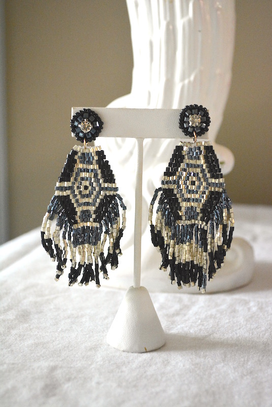 Black Beaded Earrings, Beaded Earrings, Black Statement Earrings, Statement Earrings, Boho Jewelry, Bohemian Jewelry