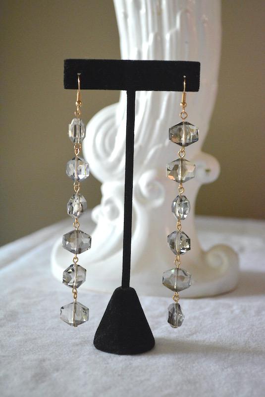 Grey Beaded Drop Earrings, Iridescent Grey Earrings, Light Grey Earrings, Grey Earrings, Chandelier Earrings