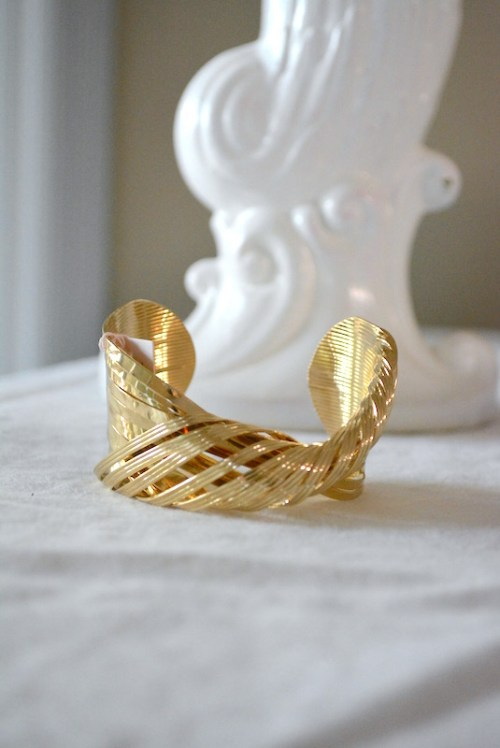 Gold Twisted Bracelet, Gold Bracelet, Gold Cuff Bracelet, Twisted Bracelet, Gold Arm Band, 1980's Jewelry, 1980's Inspired Jewelry