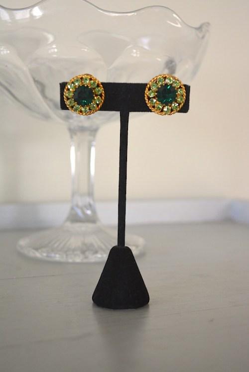 Round Emerald Earrings, Vintage Green Earrings, Emerald Earrings, Vintage Emerald Earrings, Vintage Green Earrings