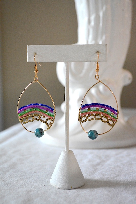 Beaded Hoops, Beaded Hoop Earrings, Hoop Earrings, Beaded Earrings, Boho Jewelry, Boho Earrings