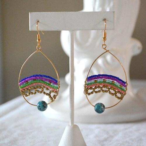 Beaded Hoops, Beaded Hoop Earrings, Hoop Earrings, Beaded Earrings, Boho Jewelry, Boho Earrings