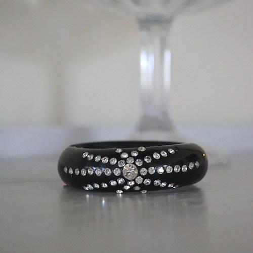 Black Rhinestone Bracelet, Vintage Bracelet, Unsigned Weiss, Hollywood Glam, Black Bracelet