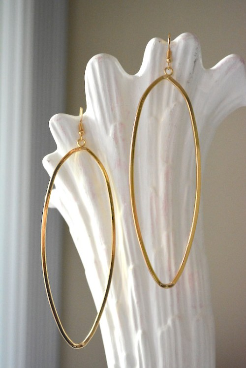Gold Oval Hoops, Gold Hoops, Gold Hoop Earrings, Large Earrings, Gold Earrings