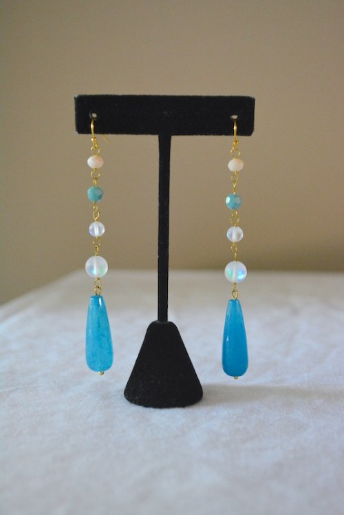 Blues Drop Earrings, Blue Drop Earrings, Blue and White Earrings, Chandelier Earrings, Blue Chandelier Earrings
