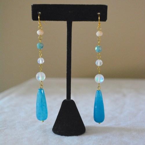 Blues Drop Earrings, Blue Drop Earrings, Blue and White Earrings, Chandelier Earrings, Blue Chandelier Earrings