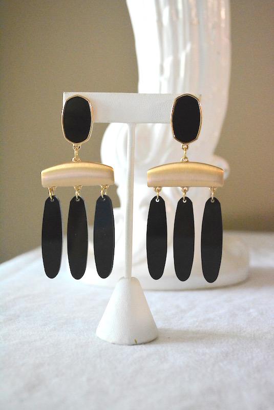 Black Column Earrings, Black Earrings, Black and Gold Earrings, Gold and Black Earrings, Black Chandelier Earrings