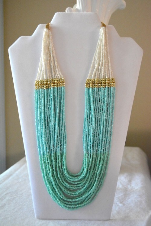 Turquoise Ombre Necklace, Turquoise Necklace, Ombre Necklace, Turquoise Beaded Necklace, Mint Necklace