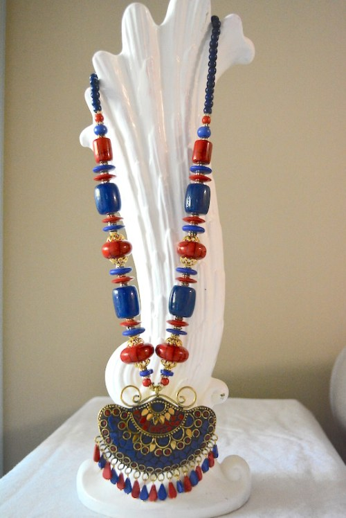Red Bohemian Necklace, Red Necklace, Red and Blue Necklace, Tribal Necklace, Navy Necklace, Statement Jewelry
