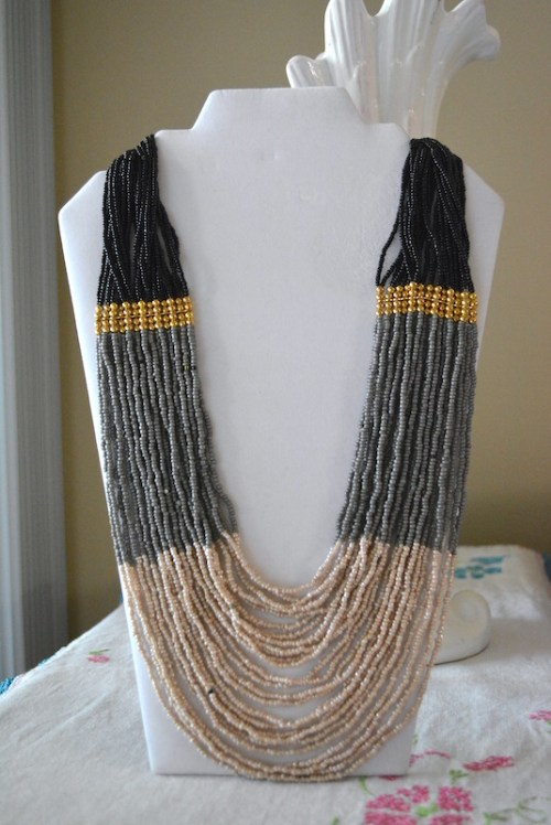 Black and Grey Beaded Necklace, Neutral Necklace, Beaded Necklace, Black Necklace, Grey Necklace