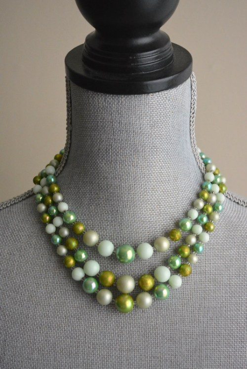 Frosty Greens Necklace, Green Necklace, Green Beaded Necklace, Vintage Green Necklace, Vintage Beaded Necklace