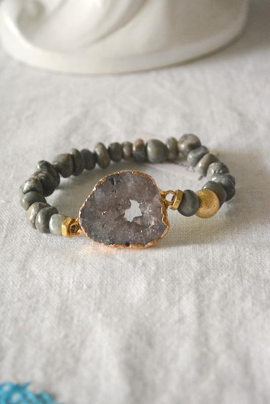 Grey Rock Bracelet, Grey Rock Jewelry, Grey Bracelet, Grey Jewelry, Grey Beaded Bracelet