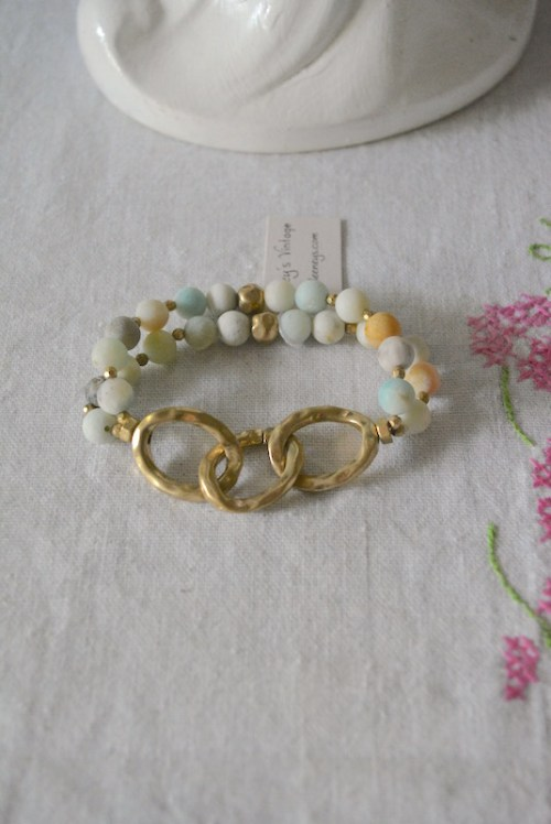 Three Gold Links Neutrals Bracelet, Neutral Bracelet, Neutral Rocks Bracelet, Rocks Bracelet, Mint Bracelet
