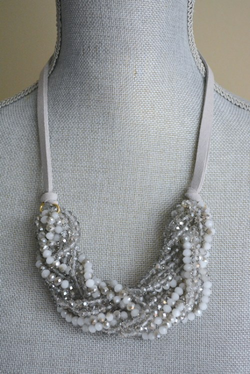 Grey Beaded Braided Necklace, Beaded Necklace, Grey Beaded Necklace, Braided Necklace, Grey Jewelry