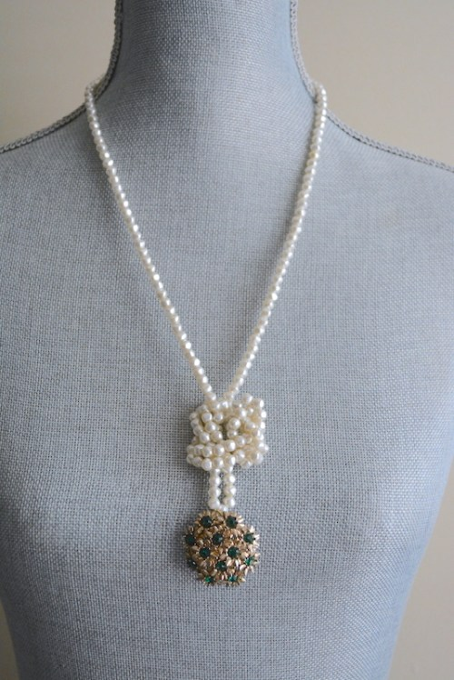 Pearls and Emeralds Necklace, Vintage Pearls, Emerald Necklace