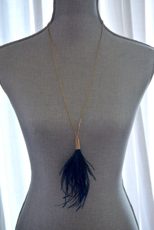 Navy Ostrich Feather Necklace, Feather Necklace, Feather Jewelry, Bohemian Jewelry, Boho Necklace, Boho Jewelry, Bohemian Necklace