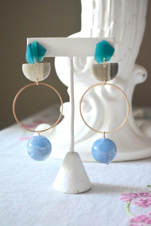 Geometric Blues Earrings, Geometric Earrings, Geometric Jewelry, Blues Earrings, Blue and Gold Earrings, Resin Earrings