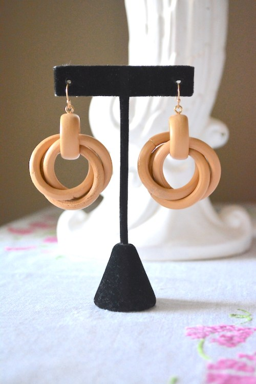 Wood Hoop Earrings, Wood Earrings, Hoop Earrings, Blonde Earrings, Summer Jewelry, Summer Earrings,