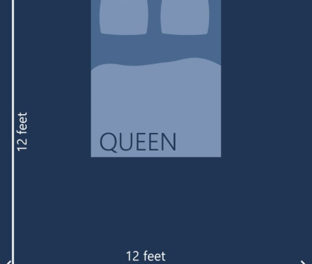 An Illustration Showing A 12x12 Feet Room With A Queen Type Mattress