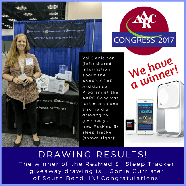 val danielson aarc congress 2017 resmed s+ drawing sonia gurrister asaa american sleep apnea association cpap assistance program cap