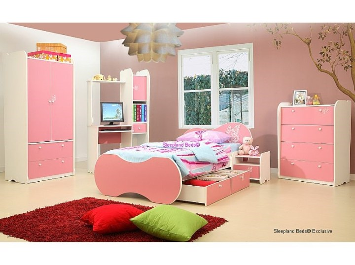 Pink Vanessa Girls Bed With Drawer And Matching Bedroom Furniture Set