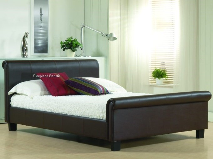 Aurora Brown Real Leather Modern Sleigh Bed Frame   5ft Kingsize Aurora Brown Faux Leather Sleigh Bed   5ft Kingsize