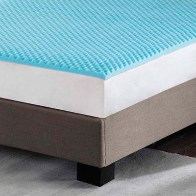 A Blue Gel Egg Crate Topper On Top Of Hard Bed And Mattress