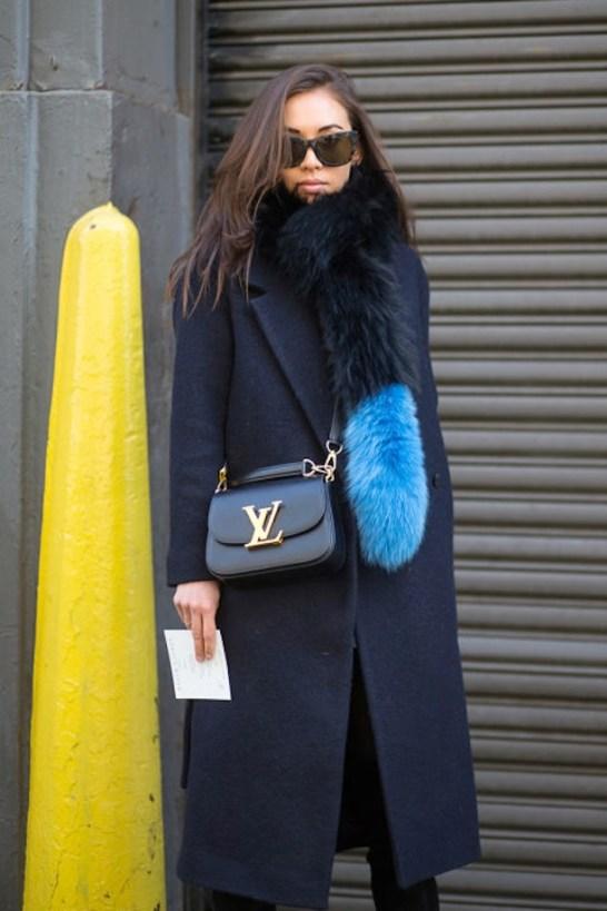 Manteau noir et echarpe en fausse fourrure - Sleepy Kate