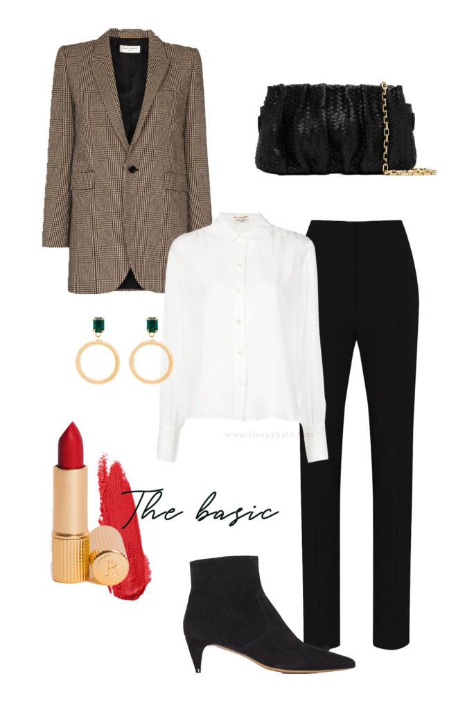 Vous cherchez des idées de tenues pour les fêtes de fin d'année? Je vous aide à créer des looks faciles avec ce qui se trouve déjà dans votre garde-robe! Une tenue basique composée d'un blazer, une chemise blanche, un pantalon noir, des bottines noires.