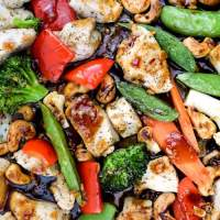 Sheet Pan Thai Cashew Hen and Greens - Slender Kitchen