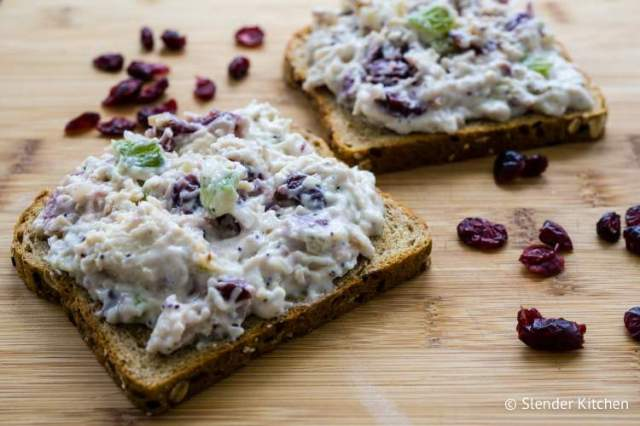 Healthy Meal Plan lunch of cranberry chicken salad on toast.
