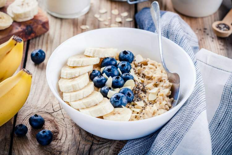 Banana recipe with chia seed pudding in a bowl with  blueberries.