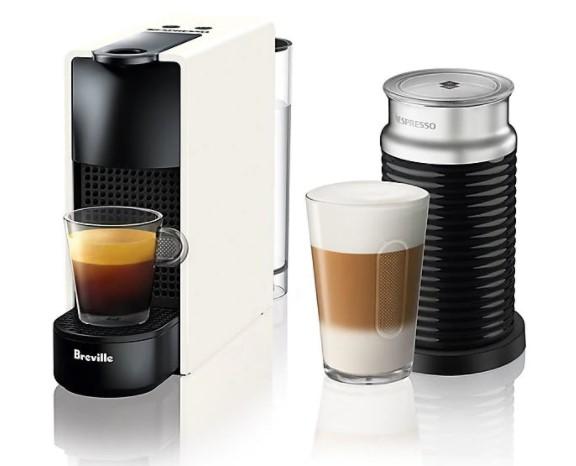 Nespresso® by Breville® Essenza Mini Espresso Maker Bundle with Aeroccino Frother in White