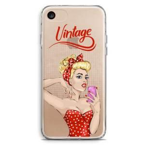 Cover trasparente smartphone pinup bionda vestito rosso vintage